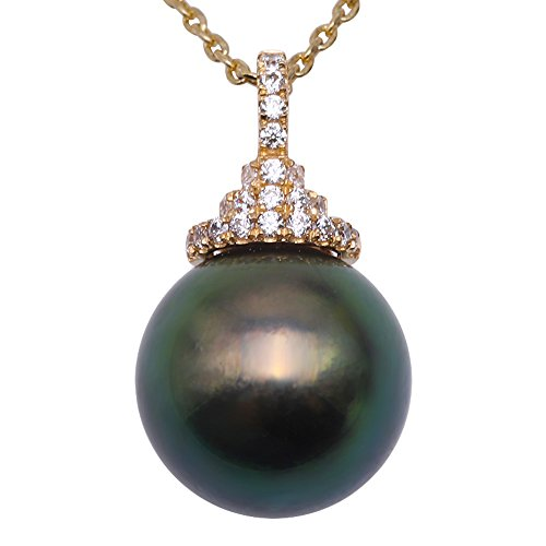 JYX Pearl Necklace 14K Yellow Gold 12.5mm Round Peacock-green Tahitian Pearl Pendant Necklace 18