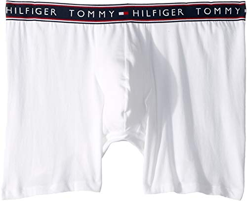 Tommy Hilfiger Men's Cotton Stretch Boxer Brief, White, M -