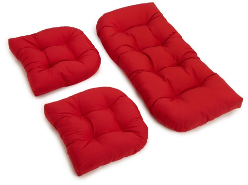 Blazing Needles Twill Settee Group Cushions, Red, Set of 3