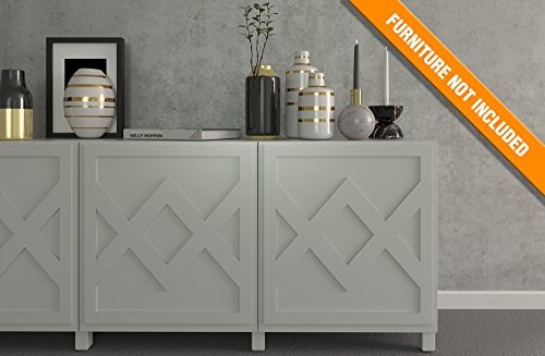 HomeArtDecor | Evora Fretwork Panel | Suitable for IKEA Besta | High Quality Overlay | Color: PVC White/Paintable, Golden Mirror, Silver Mirror, Brushed Silver | Furniture Decoration | Home Décor