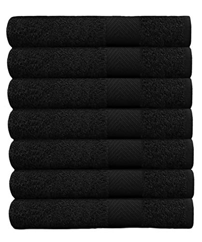 COTTON CRAFT – 7 Pack Black Color Bath Towels – 100% Ringspun Cotton – 27×52 – Light Weight 450 Grams – Quick Drying and Highly Absorbent- Ideal for Daily Use