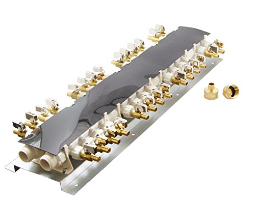 28 Port PEX Manifold (3/4'' Inlets, 1/2'' Outlets) with Shutoff Valves by Apollo Valves