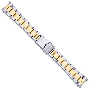 Oyster Style Solid Link Metal Watch Band – Two Tone – 20mm