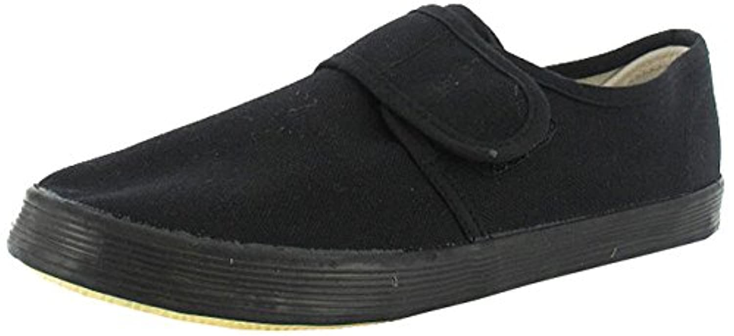 Pe Plimsolls Black Gym Class Velcro Pumps Adult 5