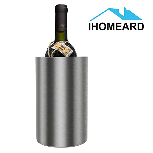 iHOMEARD Ice Bucket Double Wall Stainless Steel Insulated Wine Cooler Chiller Straight Waist-Shaped Ice Bucket Chilling Wine and Liquor Bottles Party Events Catering Bar Easy Carrying Champagne Bottle