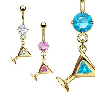 Martini Glass Belly Ring - Gold Plated Pink Gem Martini Glass Belly Ring - 14G - 3/8