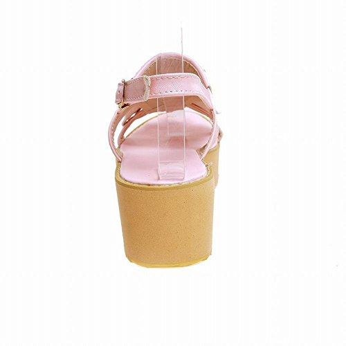 Carolbar Womens Buckle Slingback Kwasten Fashion Schattige Lolita Barbie Style Platforms Sandalen Roze