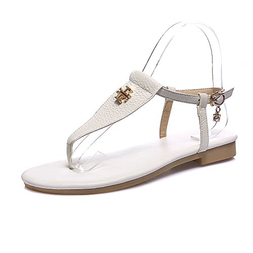 White Sandals Solid Cow No Heel Leather Flip Split Women's Flop WeenFashion Buckle Toe q4YIwxPI7
