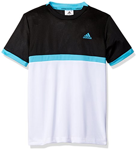 adidas Boys Tennis Court Tee, Black/White/Samba Blue, X-Large
