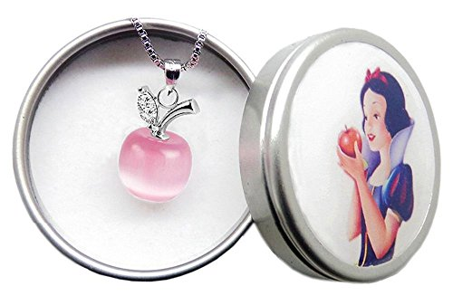 Unicraft Girl's Pendant Necklace 18 inch with Gift Box Snow White Red Apple in Cat's Eye