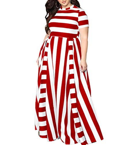 Women Plus Size Dresses for Weeding Guest red and White Mosaic Stripes Middle-Waist Casual Dress for Women Loose fit Maxi Long Dress (red XL) (Red Maxi Dress Plus Size)