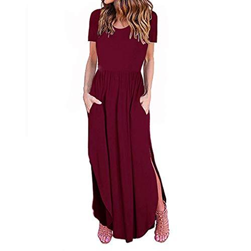 TUSANG Women Dress Ladies Summer Fashion Solid Color Slim Skirts Short Sleeve Round Neck Long Dress(Red,US-8/CN-L)