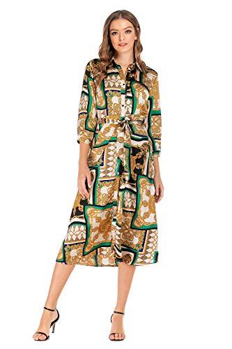 Dress Satin Sleeve - SHENGYI Women's Vintage 3/4 Sleeve Button Up Split Flowy Beach Party Maxi Dress Medium Yellow A