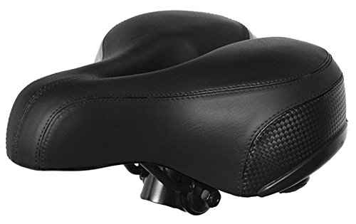 Pad Seat Gel Leather (TB Comfortable Bike Seat Soft Comfy Bicycle Seat Replacement Shock Absorbing Gel Padded Cycling Saddle for Man Woman Stationary mtb Seats Leather Bike Saddle Seat Cushion with Free Cover & Wrench)