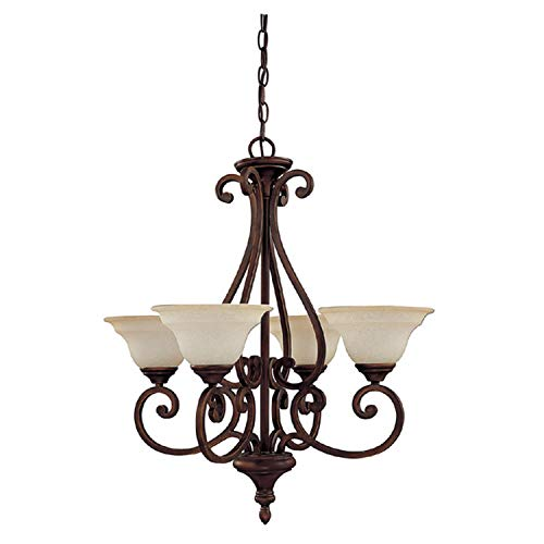 Capital Lighting 3074BB-292 Chandelier with Mist Scavo Glass Shades, Burnished Bronze Finish