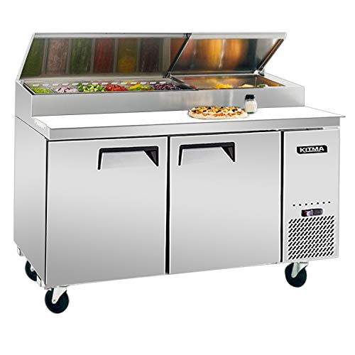 67 Inches 2 Door Pizza Prep Table Refrigerator - KITMA 18.5 Cu.Ft Refrigerated Salad Prep Station Table with Cutting Board and 9 Pans for Restaurant, 33 °F - 38°F