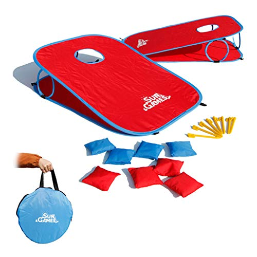 Portable Corn Hole Set, 2 Pcs Collapsible Corn Hole Boards with 8 Cornhole Bean Bags and Carrying Case, Throw Toy Ideal Toss Game Choice for Outdoor and Indoor Activities (Red)