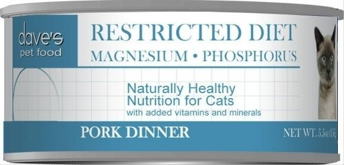 Dave's Restricted MagnesiumDiet, Pork Dinner For Cats, 5.5 oz Can (Case of 24 )