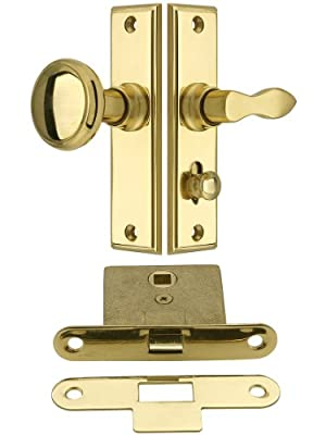 "New York Screen Door Latch Set With 1 1/2"" Backset, In 6 Finishes. Screen Door Latches."