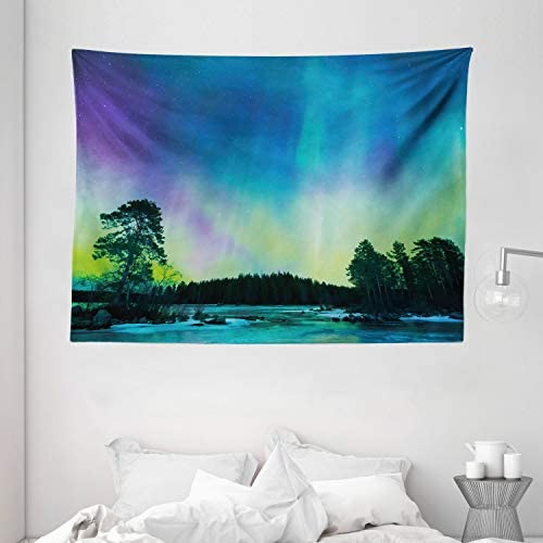 Ambesonne Aurora Borealis Tapestry, Sky Over Lake Surrounded Forest Woods Hemisphere Print, Wide Wall Hanging for Bedroom Living Room Dorm, 80 X 60 , Violet Green