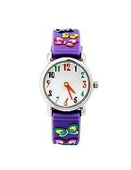 MACOON Wrist Watch Kids Child Time Teacher Pointer Type 3D Butterfly Design Figures Color Ideal Fashion (Purple)