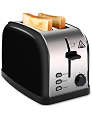 MADETEC 2 Slice Wide Slot Toaster Black for Bread Bagel, Brushed Stainless Steel Toaster with Removable Crumb Tray,High Lift Lever, Defrost, Bagels and 7 Shade Setting