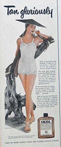 skol-suntan-lotion-50s-print-ad-color-illustration-scarce-old-ad-swim-suit-by-catalina-original-1952