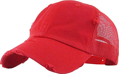 - H-6140-K42 Distressed Low Profile Vintage Polo Style Trucker Dad Hat - Red