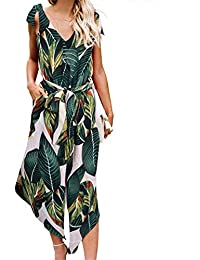 a63fd3d08650 Women Outfit Sleeveless Shoulder Bandage Waistband Sexy V-Neck Wide Leg  Long Jumpsuit with Belt