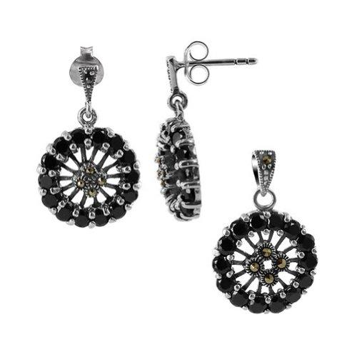 (925 Sterling Silver CZ & Marcasite Earrings & Pendant Jewelry Set)