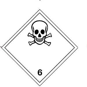 Rollo de 500 etiquetas material tóxico clase 6, 100 x 100