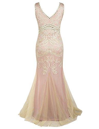 1920s Sirena De Noche PrettyGuide Rosa Largo De Baile Mujeres Beige Formal Vestido Vestido 5xwxZq6nYS