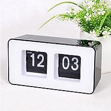 zhENfu Retro Auto Flip Wall Clock Stylish AM/ PM Format Display Timepiece Home Decor,Black Wall Clock