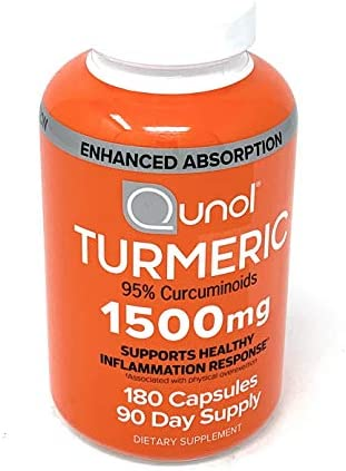 Turmeric Root Extract Curcumin Softgels, Qunol with Enhanced Absorption 1500mg, Joint Support, Dietary Supplement, 95 Curcuminoids, 180 Count,90 Day Supply