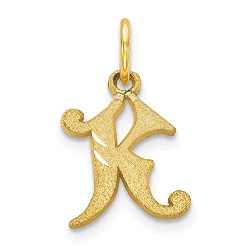Letter Cut Diamond Initial (JewelrySuperMart Collection 14k Yellow Gold Diamond-Cut Cursive Script Initial Pendant - Letter K - Yellow Gold)