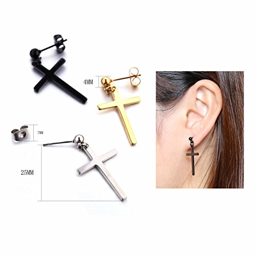 23e8a1270 Amazon.com: 3 Pairs Stainless Steel Earrings Cross Dangle Studs Earrings  piercing Jewelry For Men and Women (silver+black+gold): Jewelry
