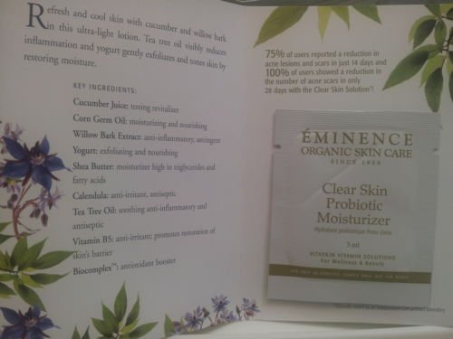 Clear Skin Probiotic Moisturizer By Eminence Organic Skin Care Card Sample Set of 6 Samples Travel Size