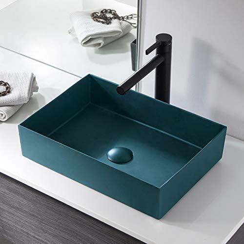 WJ 洗面台 バスルームの洗面台、セラミックカウンター化粧ホームホテルシンク(タップ無し)矩形技術の単一流域、利用可能な2色 /-/ (Color : Dark blue)