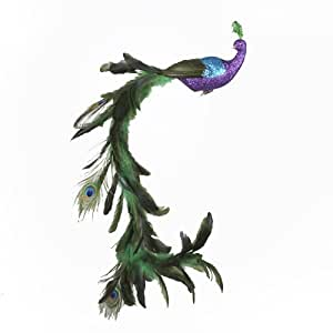 Kurt Adler Large Purple/Blue Feather Peacock on Clip