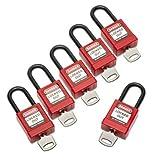 5340016502636 Lockout Tagout Padlocks, 1 Set of 6 Keyed Alike