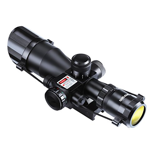 WELQUIC Rifle Scope 2.5-10x40 Red&Green Illuminated Hunting Scope Laser Sight With 22mm Rail Mount