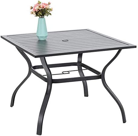 37 Metal Steel Slat Patio Dining Table Square Backyard Bistro Table Outdoor Furniture Garden Table, 1.57 Umbrella Hole, Black