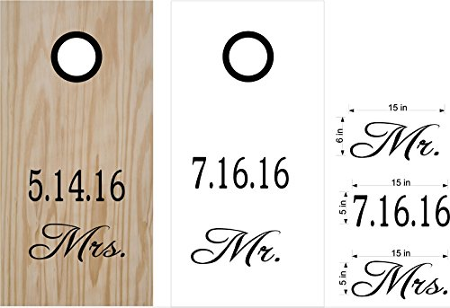 Mr and Mrs Wedding Date Cornhole Board Decals Stickers Bean Bag Toss With Rings by StickerChef