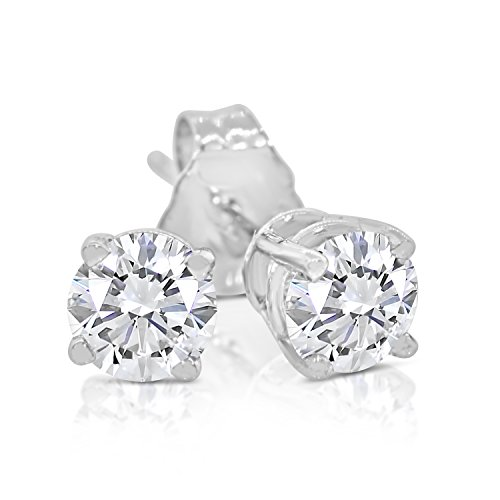 3/8ct tw Round Diamond Stud Earrings 14k White Gold ()