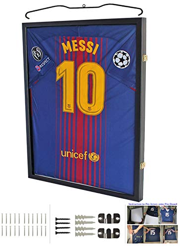 Lockable 98% UV Protection - Sport Jersey Display Case Shadow Box for Baseball/Football/Basketball/Soccer/Hockey Jersey (The Best Football Jersey)