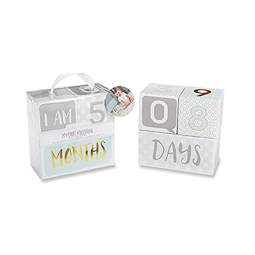 Baby Aspen My First Milestone Age Blocks, White/Grey/Mint/Gold