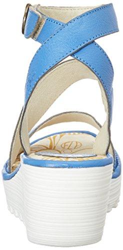 e 021 Blu con Cinturino Sandali alla Donna Fly Blu London P500526004 Caviglia Smurf Zeppa XOfZfw