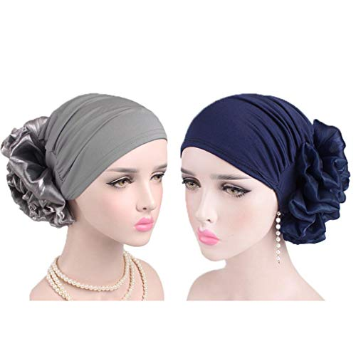 (MOMEPE 1 2 3 Pack Women Flower Pleated Head Cover Turban Chemo Hat for Cancer Patient (Deep Blue & Deep)