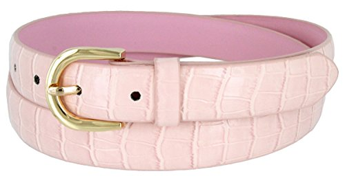 Women's Skinny Alligator Embossed Leather Casual Dress Belt with Buckle 7035 (Pink, Small) ()
