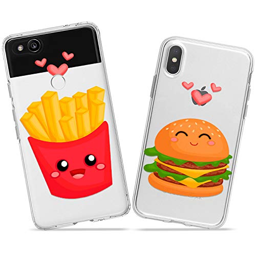 Wonder Wild Fries and Burger Love Pair Case iPhone Xs Max X Xr 10 8 Plus 7 6s 6 SE 5s 5 TPU Clear Gift Apple Phone Cover Print Protective Double Pack Silicone Sandwich Potato Love Relationship Pair ()